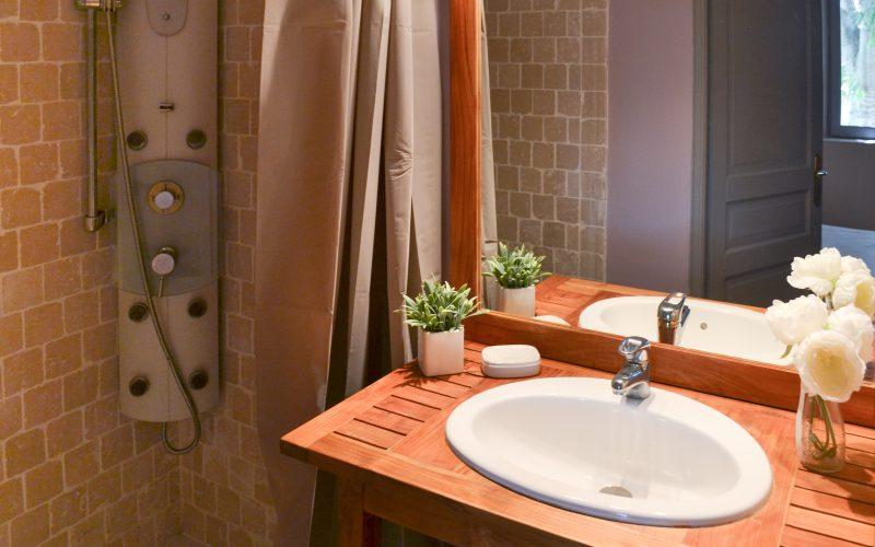 Salle de bain avec douche balnéo